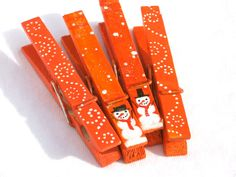 CHRISTMAS SNOWMEN orange hand painted clothespin by SugarAndPaint, $10.00