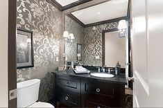 wallpaper powder room | Wallpaper always makes a powder room look better. This one is ...