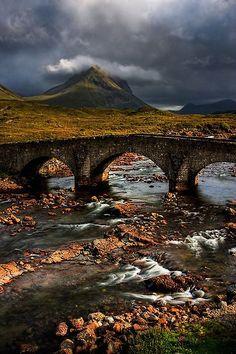 Marsco in the Red Hills, and the Old Bridge at Sligachan, Isle of Skye.