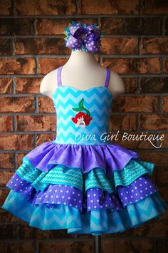 Boutique Girls Birthday Dress Mermaid Ruffle Dress Pageant Dress Outfit of Choice Boutique Hair Bow 6m 12m 18m 24m 2T 3 4 5 6 7 8 on Etsy, $109.50