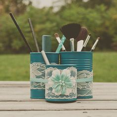 Desk organizer storage caddy. Makeup brush holder. Teal decor. Painted tin cans.