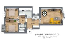 Floorplan of a two bedroom apartment in Milosrdnych Apartments, Prague.