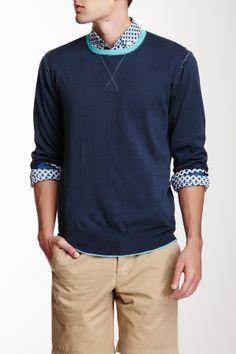 Pure Cotton Ultra Lightweight Contrast Crew Neck Pullover on HauteLook