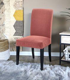 IKEA Henriksdal Dining Chair Cover, Blush Pink Velvet   affordable, designer, custom, handmade, trendy, fashionable, locally made, high quality Ikea Dining Chair, Dining Chair Covers, Dining Chair Slipcovers, Dining Room, Pink Velvet, Green Velvet, Furniture, Hunter Green, Handmade