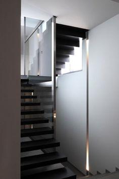 Modern and minimal interior design Dolma vertical lighting by Kreon _ Modern Stairs Design Dolma Interior Kreon Lighting Minimal Modern vertical House Arch Design, Staircase Design, Stair Design, Interior Stairs, Interior Architecture, Houses In France, Stair Handrail, Modern Stairs, House Stairs
