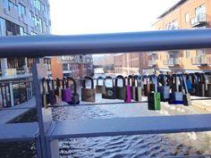 Love locks on a bridge by the Mail Box Birmingham UK