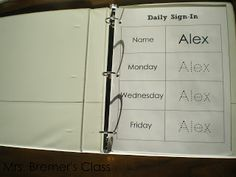 daily sign in binder there s one page per student per week abc