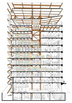 Famous Architecture, Chinese Architecture, Architecture Drawings, Architecture Details, Architecture Graphics, Sectional Perspective, Drawing Block, Model Photoshop, Autocad