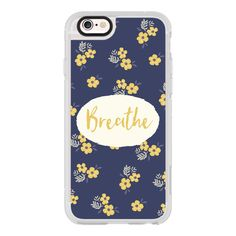 iPhone 6 Plus/6/5/5s/5c Case - BREATHE TEXT NAVY BLUE BUTTER YELLOW FLORAL FLOWERS TYPOGRAPHY SPEECH BUBBLE MINI PRINT GIRLY MOTIVATIONAL CUTE featuring polyvore, women's fashion, accessories, tech accessories, iphone case, apple iphone cases, iphone cases, pattern iphone case, flower iphone case and iphone cover case