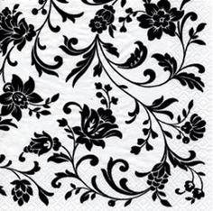Edle weiße Serviette mit schwarzen Ornamenten - perfekt für eine stilvolle klassische Hochzeit