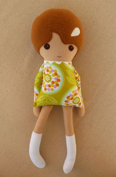 Fabric Doll Rag Doll Girl in Tall White Boots by rovingovine, $34.00