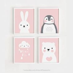 Printable Nursery Art Set of 4 Poster Baby Girls room Wall art