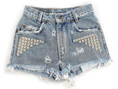 Blue Nova Short studded cutoff shorts by Omeneye on Etsy, $89.00
