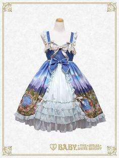 Baby, the stars shine bright Moonlit forest AURORA Soirée princess jumper skirt