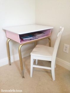 Quick and easy DIY paint make-over of a $5 school district surplus desk. Details on the white, pink, and gold paint used. | remodelicious