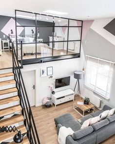Tiny Living Rooms, Tiny House Living, Cozy Living, Living Spaces, Loft Design, Tiny House Design, Design Design, Stair Design, Staircase Design