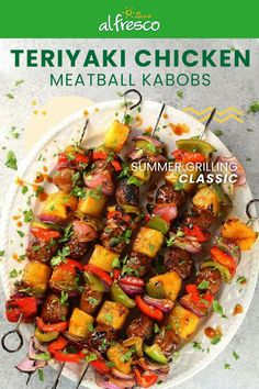 summer recipes These Teriyaki Chicken Meatball Kabobs are the perfect summer dinner recipe. Make weeknight grilling your thing, and make the most of your summer. Kabob Recipes, Rice Recipes, Dinner Recipes, Cooking Recipes, Healthy Recipes, Dinner Menu, Easy Summer Meals, Summer Recipes, Chicken
