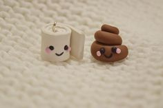 Best friend charms: Tiny poop and toilet paper! Friendship charm, polymer clay charms, Kawaii charms by LittleWomenCie on Etsy https://www.etsy.com/listing/596152295/best-friend-charms-tiny-poop-and-toilet