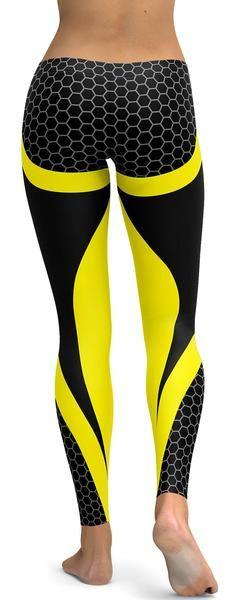 Yellow Honeycomb Carbon Leggings