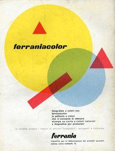 Pagina pubblicitaria Ferrania (1952) Design byLuigi Veronesi