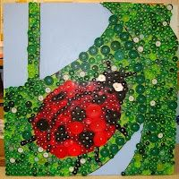 Bottle cap mural...reminds me of Alicia