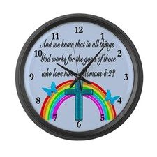 ROMANS 8:28 VERSE Large Wall Clock http://www.cafepress.com/heavenlyblessings/12848231 #Romans828 #Romans8verse #Romans8gift #AndallthingsworkforgoodforthosewholoveGod #JesusChrist