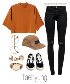 """""""Inspired Outfit for KCON // Taehyung"""" by suga-infires ❤ liked on Polyvore featuring J Brand, Monki, Vans, Retrò, Sunday Somewhere and Steve Madden"""