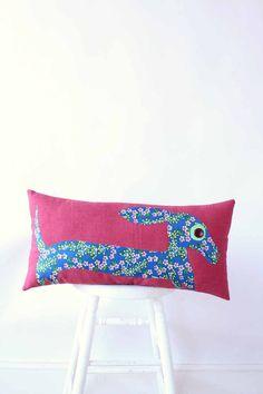 weiner dog applique pillow / dachshund in bright rose by aorta, $80.00