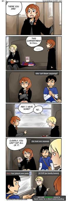 Lol I think Albus and Scorpius are playing some sort of game and Rose just come in not even know they are play a game, I think. Harry Potter Comics, Harry Potter Puns, Harry Potter Images, Harry Potter Fan Art, Harry Potter Universal, Harry Potter World, Hogwarts, Sirius Black, Dramione