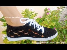 Alpargata tejida en rombo tejida a crochet - YouTube
