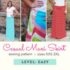 INSTANT Download! Women's Knit Maxi Skirt Sewing Pattern
