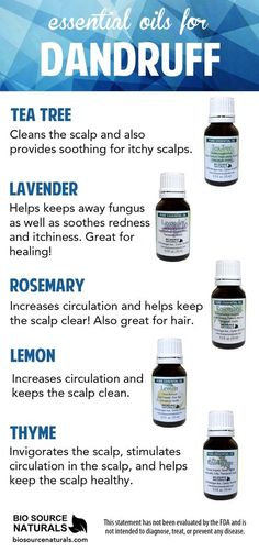 Essential Oils can help soothe the symptoms of dandruff.  Many of the great benefits include cleansing and soothing the scalp.  They can support circulation and soothing itchiness.  Try essential oils for a healhty scalp!  #aromatherapy