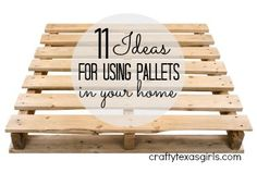 11 Ideas for Using Pallets in Home Decor  {I've read before that some pallets are unsuitable for DIY projects due to the chemicals that might have been used to 'preserve' them and/or leached onto them from what was transported/stored on them.}