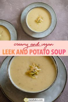 Vegan Creamy Leek and Potato Soup Vegan Lunches, Vegan Snacks, Vegan Food, Other Recipes, Whole Food Recipes, Cooking Recipes, Leek Soup, Potato Soup, Vegan Finger Foods