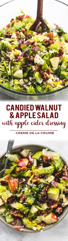 Fresh, chopped Autumn salad with apple cider dressing has crunchy candied cinnamon pecans, apples, pears, bacon and feta cheese, all tossed in a sweet and tangy dressing. | lecremedelacrumb.com