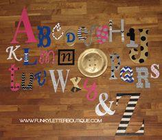 Custom+Painted+Alphabet+Wall+Letter+Set www.funkyletterboutique.com | kids décor |