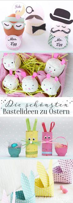 Viele süße Bastelideen zu Ostern. Die sind ganz leicht nachzumachen mit Kindern. Die Anleitungen und Bastelvorlagen findet ihr auf dem Minidrops Blog >>> #ostern #bastelnmitkindern #minidrops