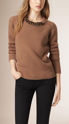 Chain Detail Wool Cashmere Sweater Camel | Burberry