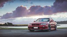 https://flic.kr/p/J7qtJh | Nissan R34 | Nissan R34, 4 door 2JZ-GTE @ 441kW R35 rims