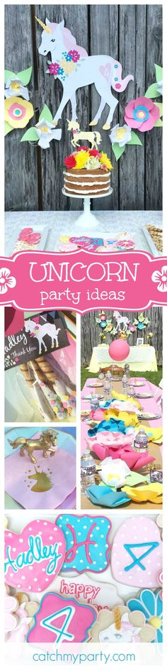 Be inspired by this gorgeous Unicorn birthday party! The naked cake with flowers on top is beautiful! See more party ideas at CatchMyParty.com
