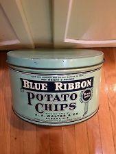 Blue Ribbon 3 Pound Potato Chip Tin Vintage Can A.A. Walter & Co. Kitchen