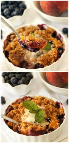 An easily adaptable blueberry peach crumble recipe that's coincidentally #glutenfree and #wholegrain! Can be made with any fruit that you like.