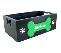 Personalized Dog Toy Storage Box by ThePlatinumPooch on Etsy, $55.00