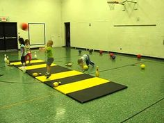 Fun PE Game - Battleship -Kindergarten PE, I'd definitely use softer balls with this age, but this looks like fun!