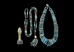 Two Egyptian glazed composition bead necklaces. New Kingdom - Late Period, circa 1550-332 B.C.