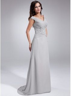 A-Line/Princess Off-the-Shoulder Sweep Train Chiffon Mother of the Bride Dress With Ruffle Beading Sequins (008005681) - JJsHouse  Comes in Lavender??
