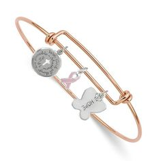 14k White and Rose Gold Diamond Heart Breast Cancer Awareness Ribbon
