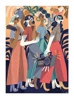 Art Print  Summer of Women  Fine art illustration  Giclee print on archival paper  Wall art print  50x70 cm  19.7 x 27.6 in  40x50 cm