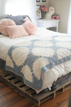 Kaelah Bee: Cottage Tour : Bedroom etc.- love the pallet platform bed and the grey, white, and pink theme. by Magpie & Otis