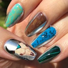 Chrome, turquoise, jewelry, mexican, cow skull nail art.